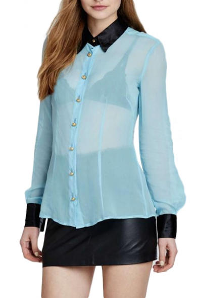 blue sheer chiffon black collar long sleeve blouse