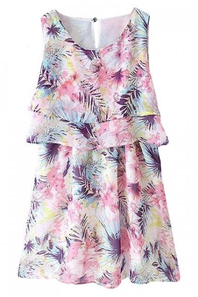 Pink Floral Ruffle Trim Sleeveless Round Neck Chiffon Dress