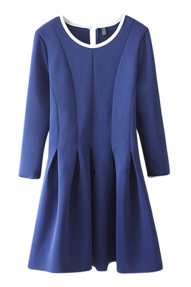 Plain 3/4 Sleeve Pleated Round Neck Ruffle Hem Dress