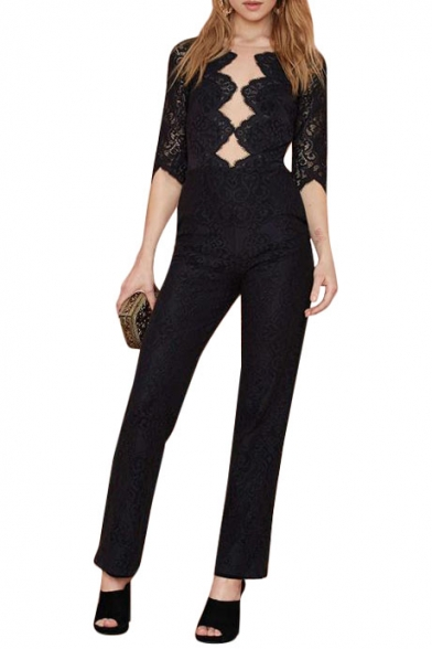 Black Eyelash Lace 1/2 Sleeve Zippered Fitted Jumpsuits