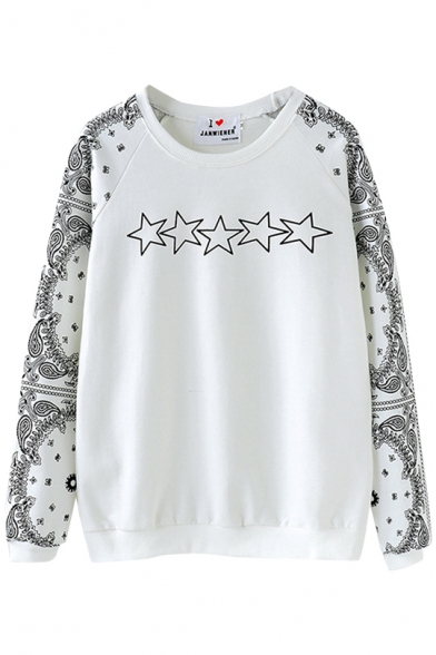 Tribal Star Print Raglan Sleeve Round Neck Sweatshirt