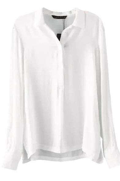 White Plain Split Hem Long Sleeve Chiffon Blouse