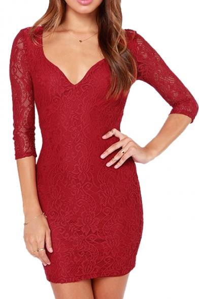 Curve V-Neck Plain Crochet Lace 3/4 Sleeve Dress