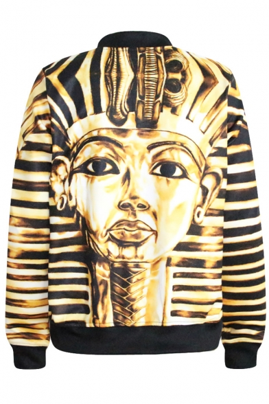Egypt Architecture Print Gold Baseball Jacket - Beautifulhalo.com