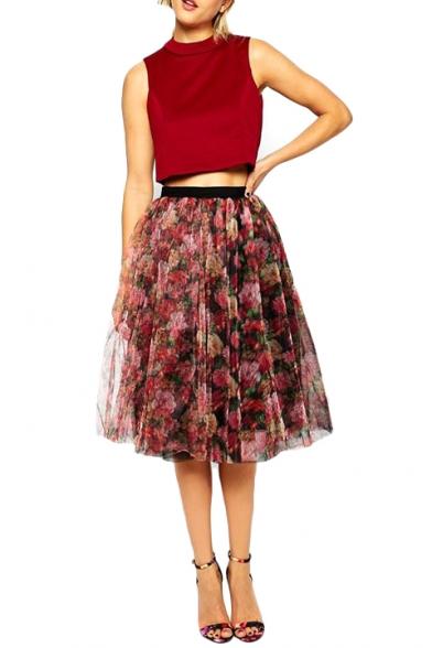 Elegant Elastic Waist Floral Print Princess Skirt