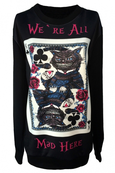 Cheshire Cat Print Black Sweatshirt