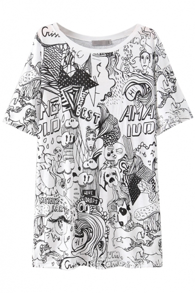 Round Neck Fashionable Cartoon Graffiti Pattern White T