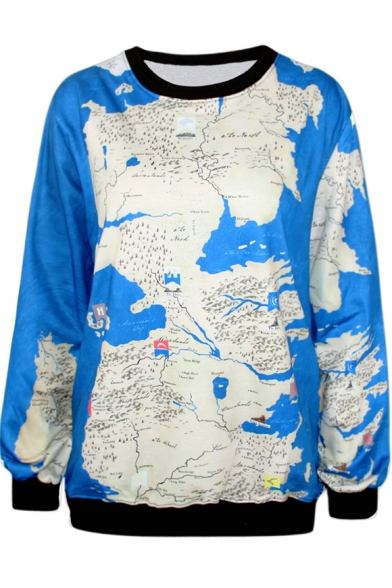 Wold Map Print Blue Sweatshirt
