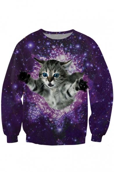 Flying Kitty&Galaxy Print Sweatshirt