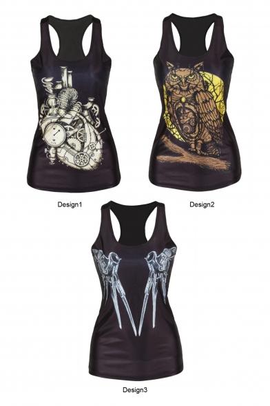 Owl&Clock&Tool Print Black Tanks
