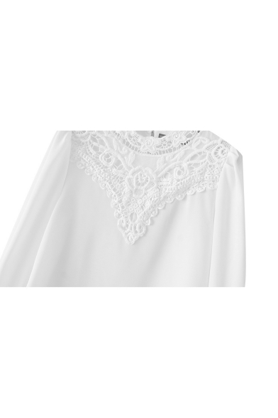 fb82491e56ea6 ... White Plain Lace Insert Long Sleeve Half High Collar Blouse ...