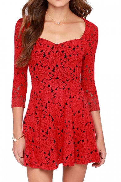 b47045badeee 3 4 Sleeve Vintage Red Rose Cutout Style Skater Dress - Beautifulhalo.com