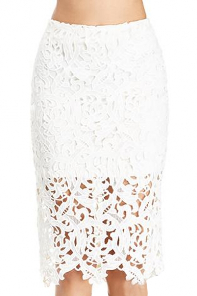 Plain High Waist Lace Crochet Pencil Skirt - Beautifulhalo.com