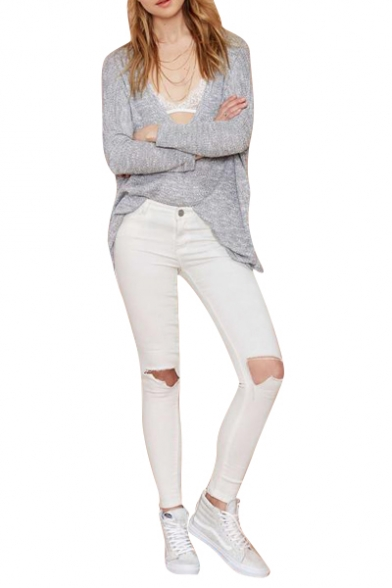 White Plain Busted Knees Plain Zippered Fitted Pencil Pants