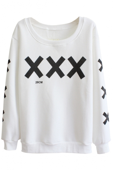 Cross Pattern Round Neck Long Sleeve Sweater