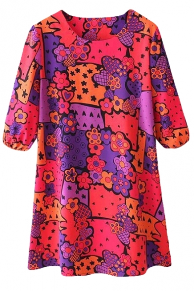 Red Floral Print 1/2 Sleeve Round Neck Shift Dress