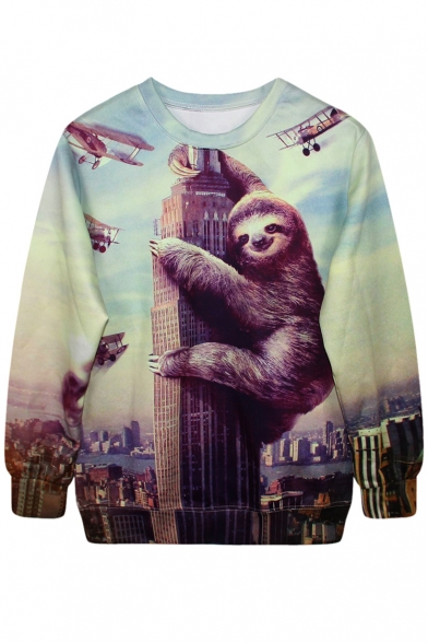 3D Climbing Building Sloth Plane Print Sweatshirt