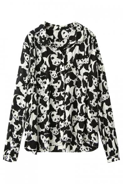 Full OF Panda Print Lapel Long Sleeve Loose Shirt