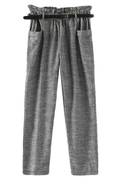 Gray Cotton Line Blend Belted Double Pockets Crop Pants