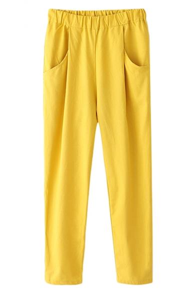 Plain Double Pockets Elastic Waist Crop Pants