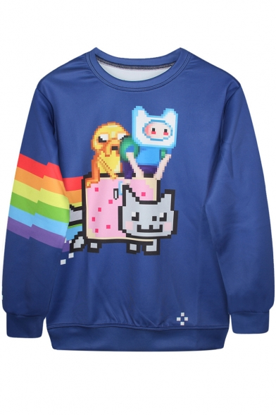 Rainbow Stripes&Cartoon Print Blue Sweatshirt