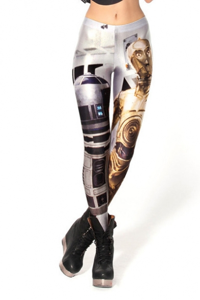 Technology and Robot Print Fitted Elastic Leggings