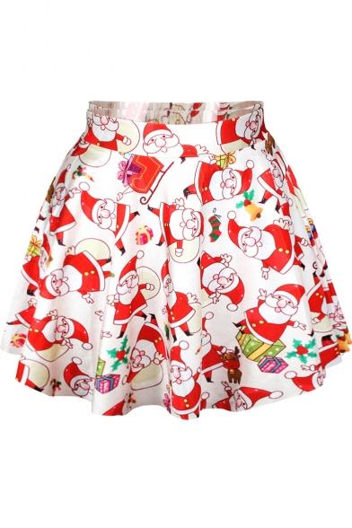 White Christmas Theme Print Pleated Mini Skirt
