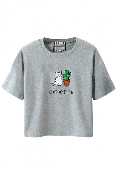 Cactus And Cat Print Round Neck Short Sleeve T Shirt