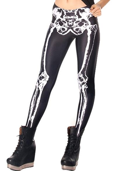 Cool Baroque Style Skeleton Print Elastic Waist Leggings
