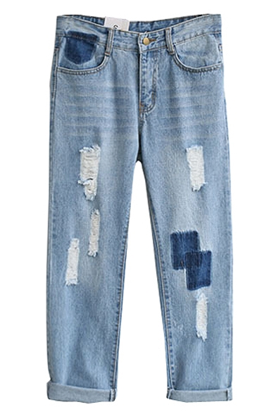 Light Wash Distressed Mid Rise Wide Leg Jeans