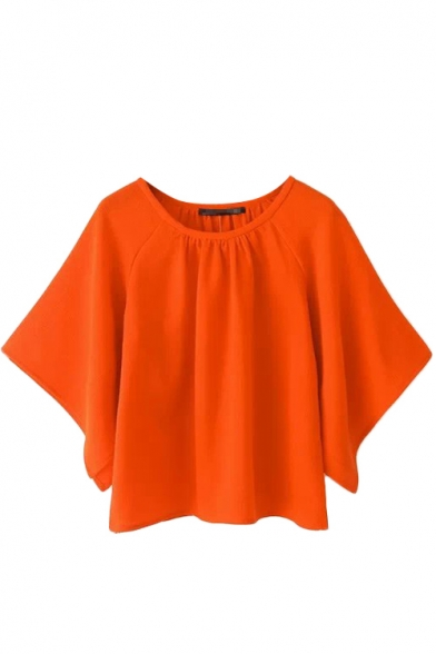 Orange Cropped Neck Ruched Batwing Sleeve Blouse