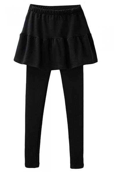 Plain Skinny Leggings with Mini A-line Skirt Cover
