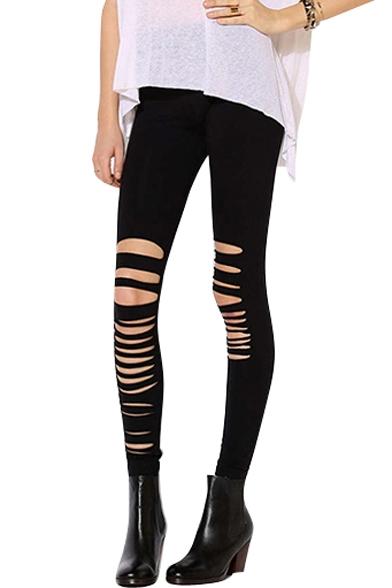 Knee Laser Asymmetric Cutout Elastic Leggings