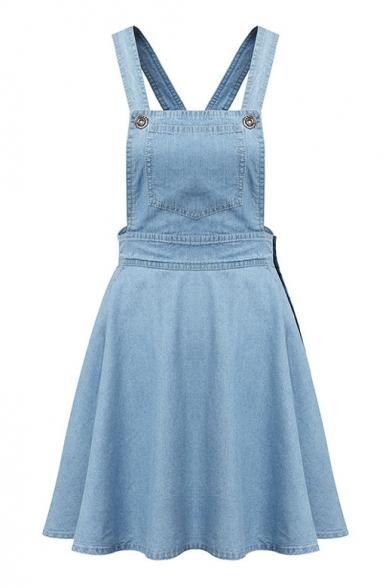 Light Blue Single Pockets Ruffle Hem Denim Dress