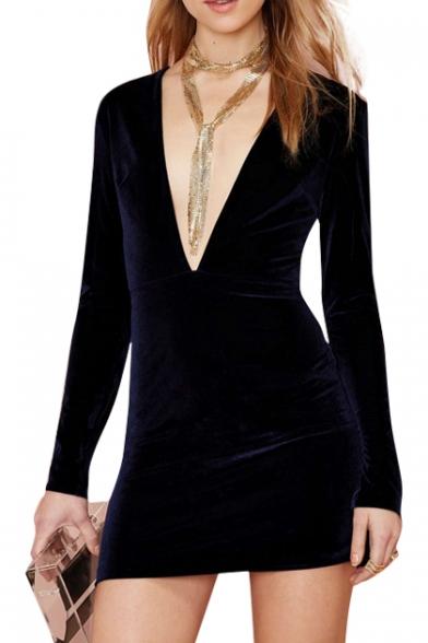 Elegant Purple Plunge Neck Velvet Bodycon Long Sleeve Dress -  Beautifulhalo.com d2d7e821b