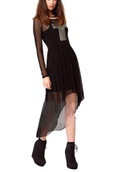 Black Cutout Back Long Sleeve Sheer High Low Hem Dress