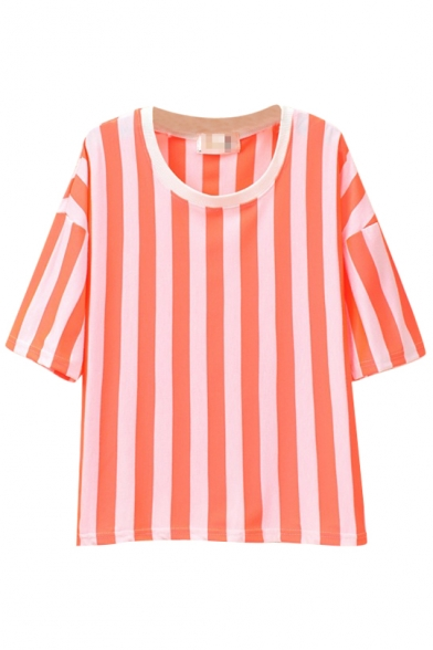 Round Shirt T Color Sleeve Short Neck Stripe Print Bright vq8n0taw