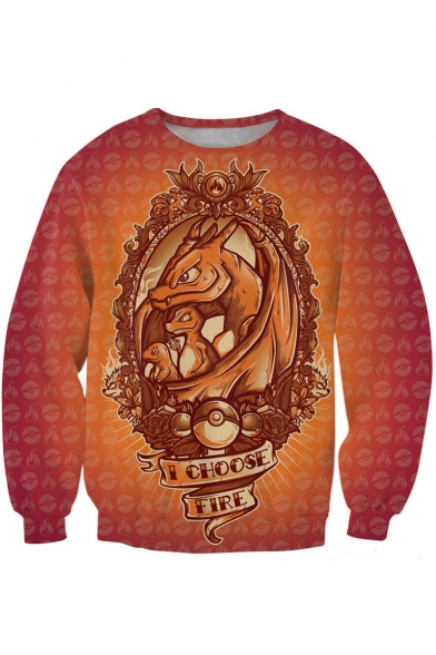 Dinosaur Family Print Orange Sweatshirt