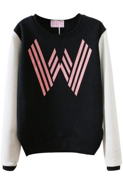 Geometric W Color Block Style Sweatshirt