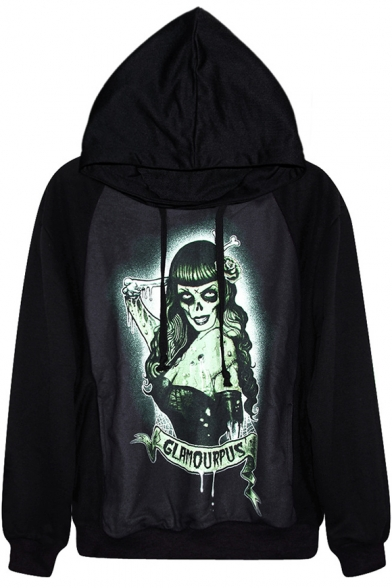 Horror Witch Print Black Hoodie
