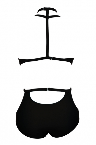 Black Halter Cutout Detail High Waist Bikini Set