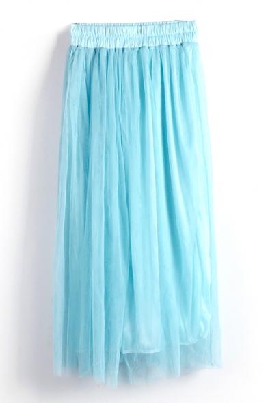Blue Double Mesh Layer A-line Tea Length Skirt