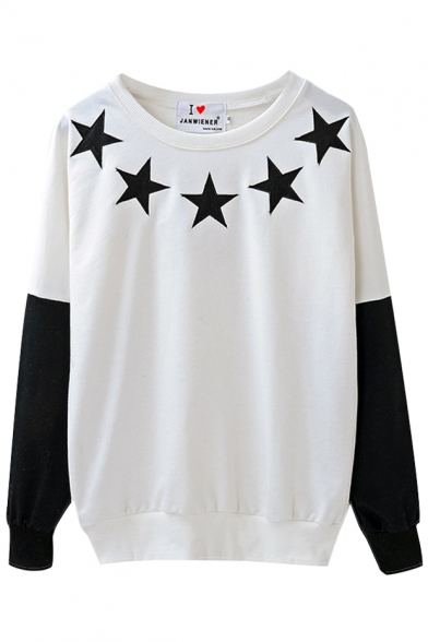 Color Block Star Print Round Neck Sweatshirt with Long Sleeve