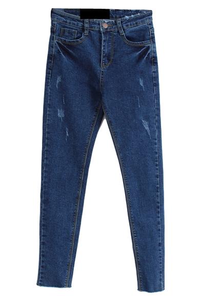 Dark Blue Denim Rae Edge Distressed Pencil Jeans