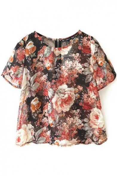 Floral Print Zipper Back Short Sleeve Blouse