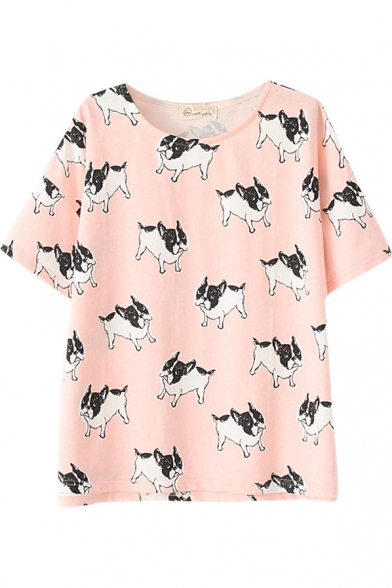db9c8887 Pink Dog Print Short Sleeve Cute T-Shirt - Beautifulhalo.com