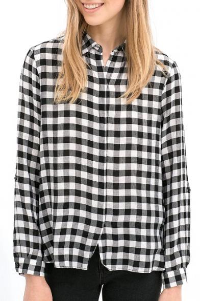 Plaid Print Long Sleeve Single Breast Blouse