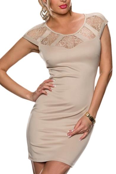 Plain Lace Insert Sleeveless Zip Back Mini Dress