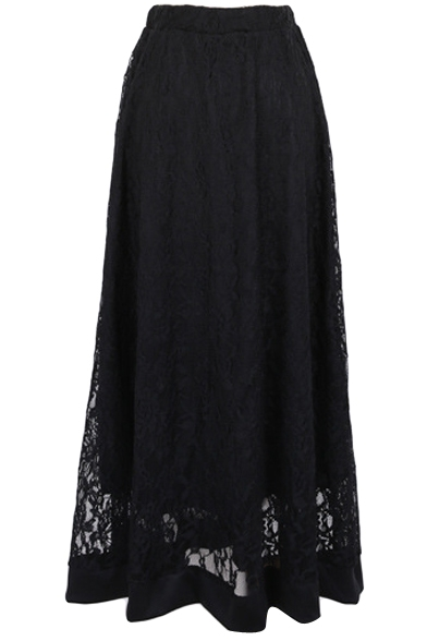 Plain Sexy Lace Inserted Cutout Maxi Skirt