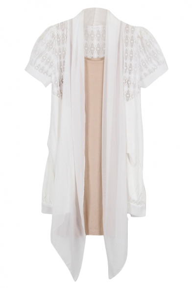 Plain Thin Lace Insert Short Sleeve Cardigan with Asymmetrical Hem ...